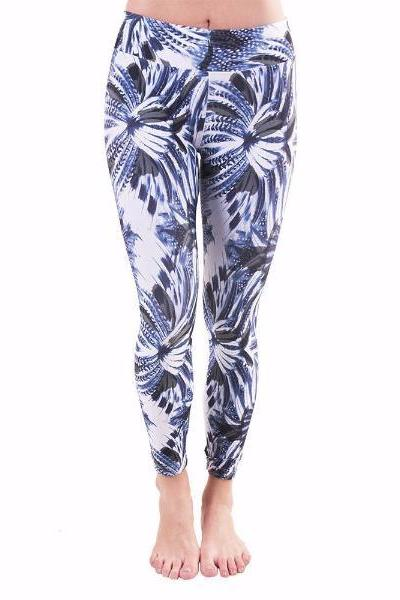 Liquido Active Blue Feather Printed Yoga Legging - yApparel