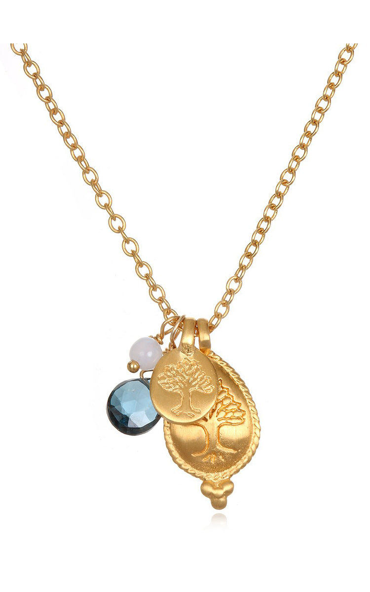 Satya Jewelry Blue Topaz, London Topaz Satya Lotus Necklace - yApparel