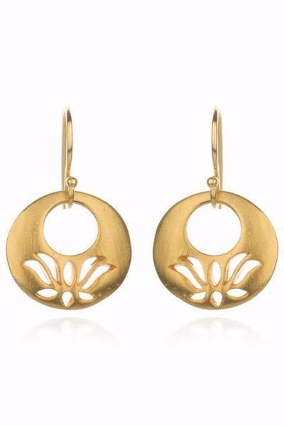 Satya Jewelry Open Lotus Gold Earrings - yApparel