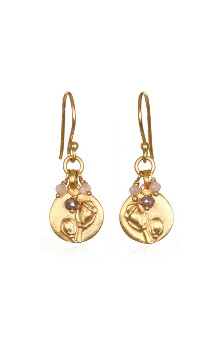 Satya Jewelry Flower Mystic Dark Champagne Earrings - yApparel