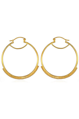 Large Dot Gold Hoops Earring
