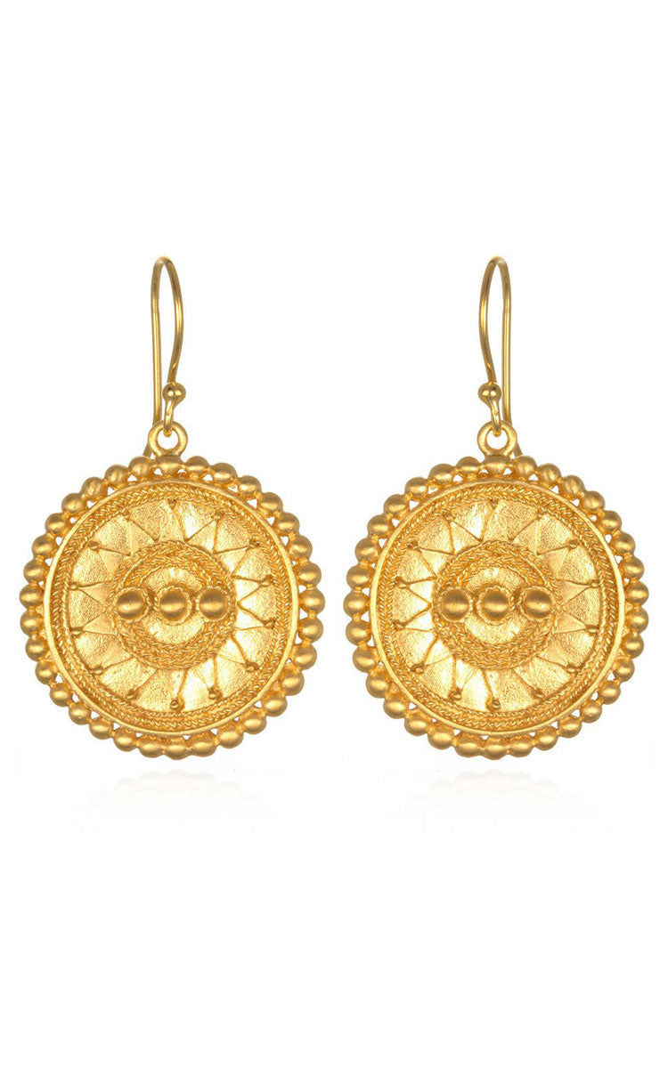 Satya Jewelry Mandala Gold Drop Earrings - yApparel