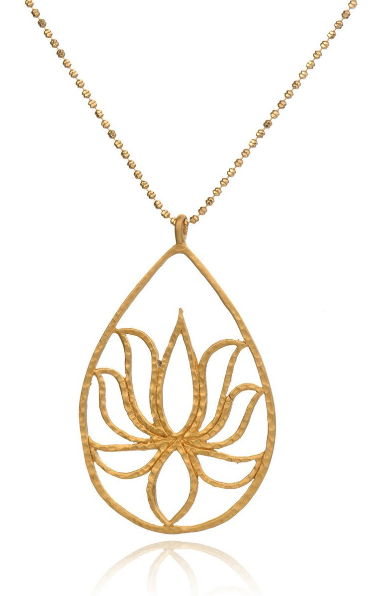 Satya Jewelry Gold Etched Lotus Necklace - yApparel