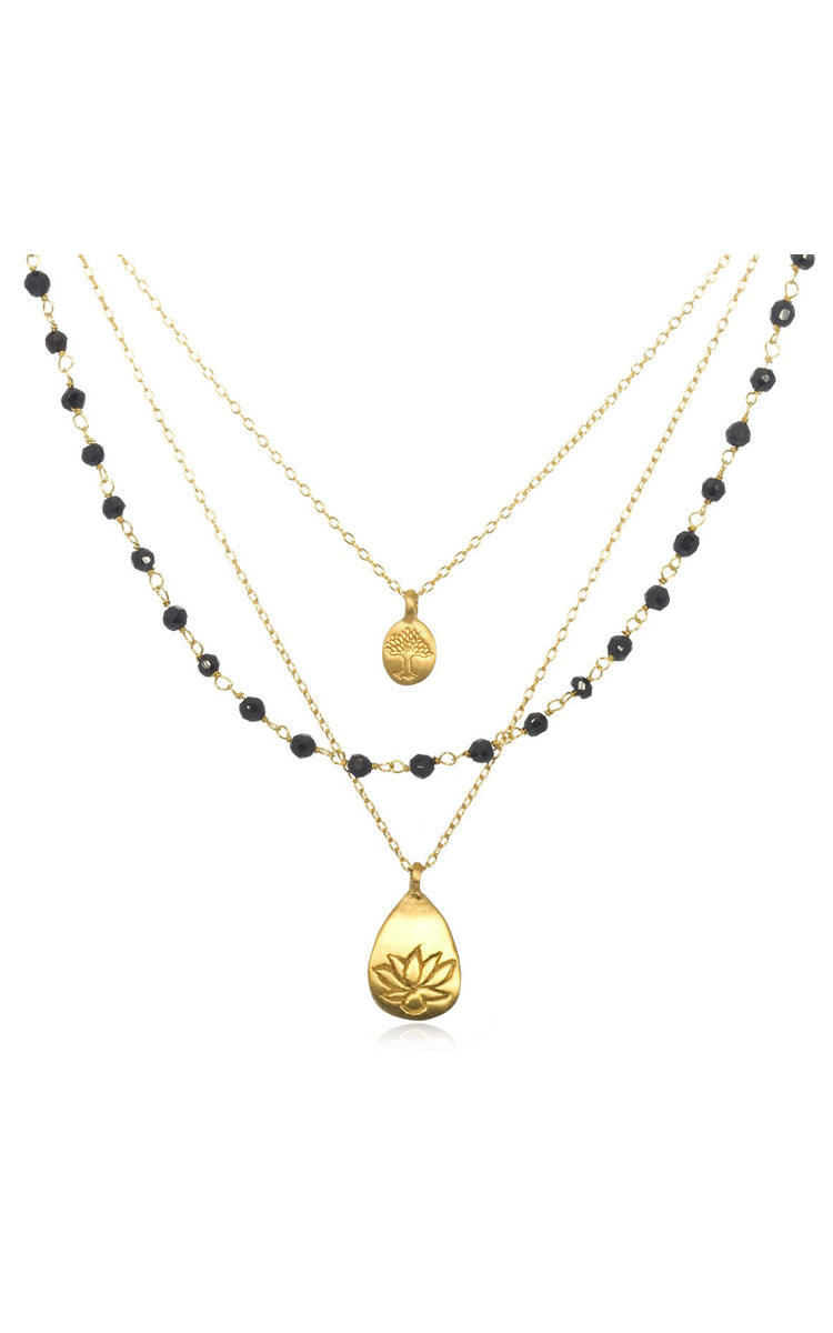 Satya Jewelry Onyx Lotus Tree Necklace - yApparel