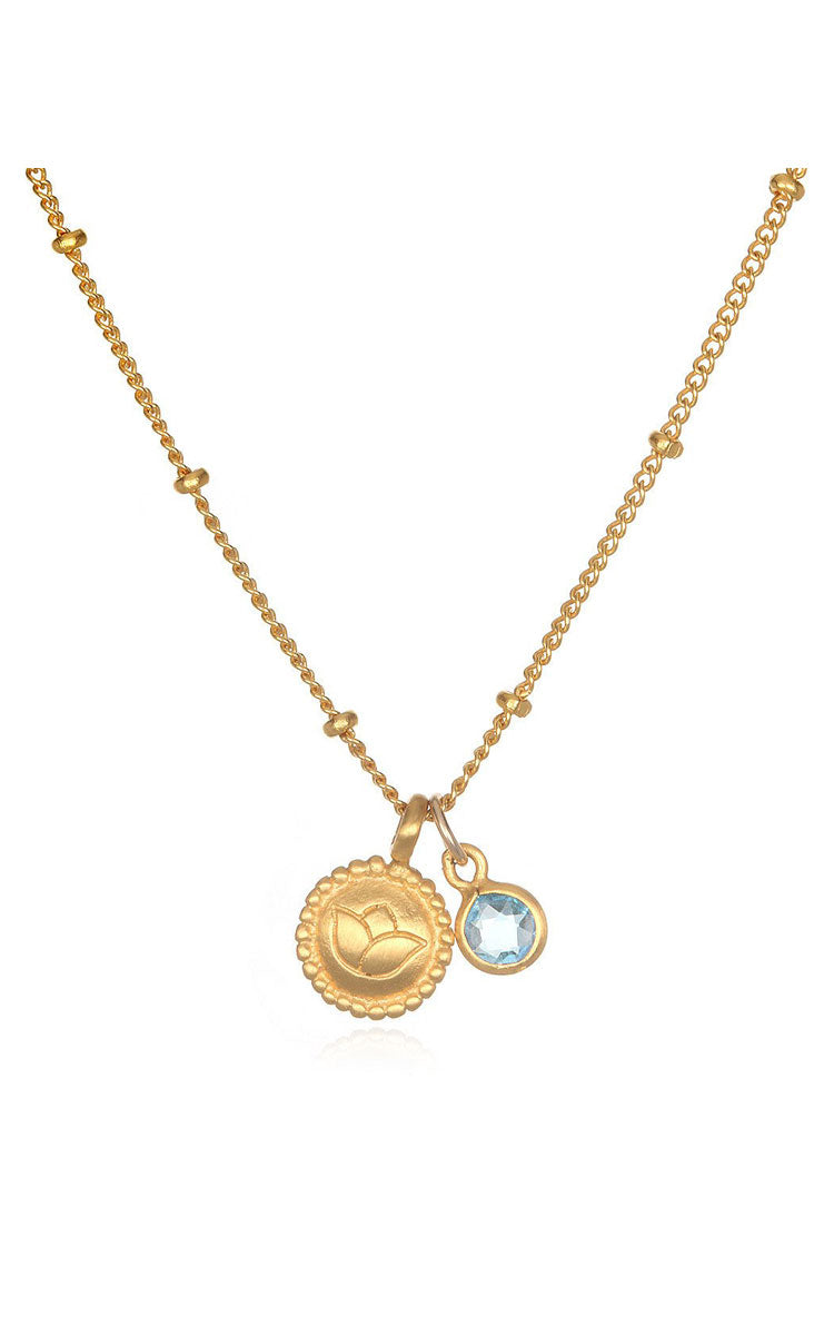 Satya Jewelry New Beginning Lotus Blue Topaz Necklace - yApparel
