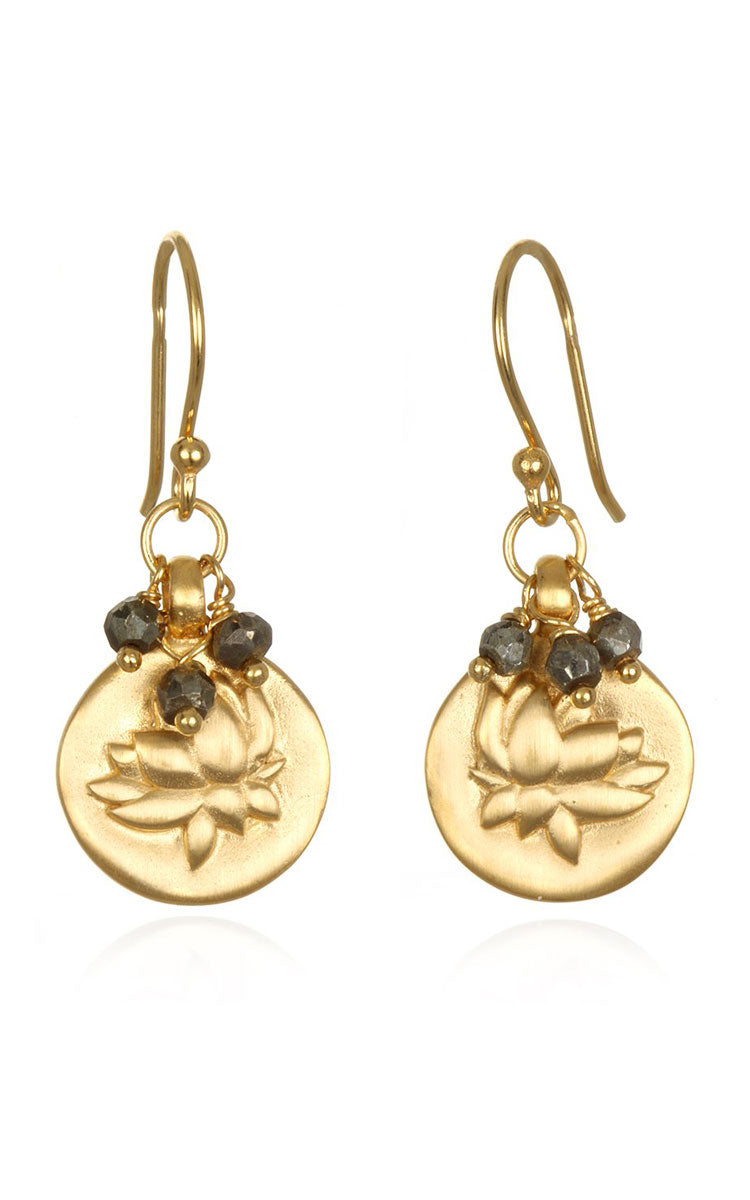 Satya Jewelry Pyrite Gold lotus Earrings - yApparel