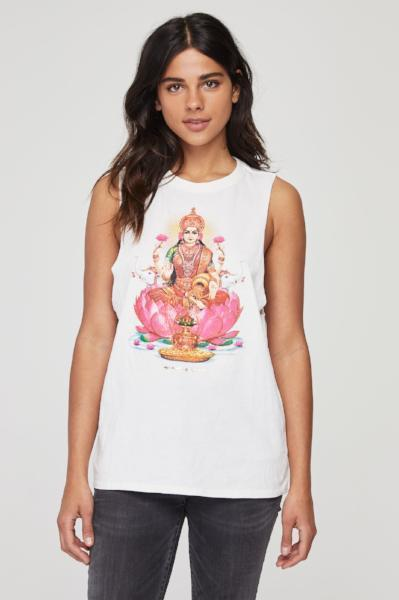 Spiritual Gangster Lakshmi Cut Off Band Tank Stone - yApparel