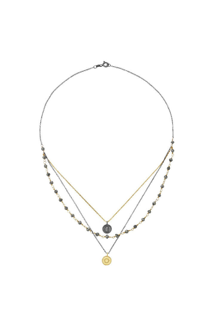 "Satya Jewelry 18"" Faux 3 Layer Sun and Moon - yApparel"