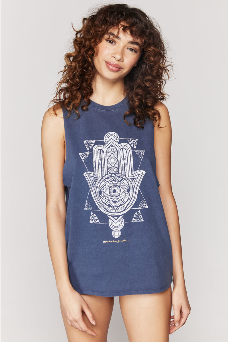 Spiritual Gangster Hamsa Cut Off Band Tee - yApparel