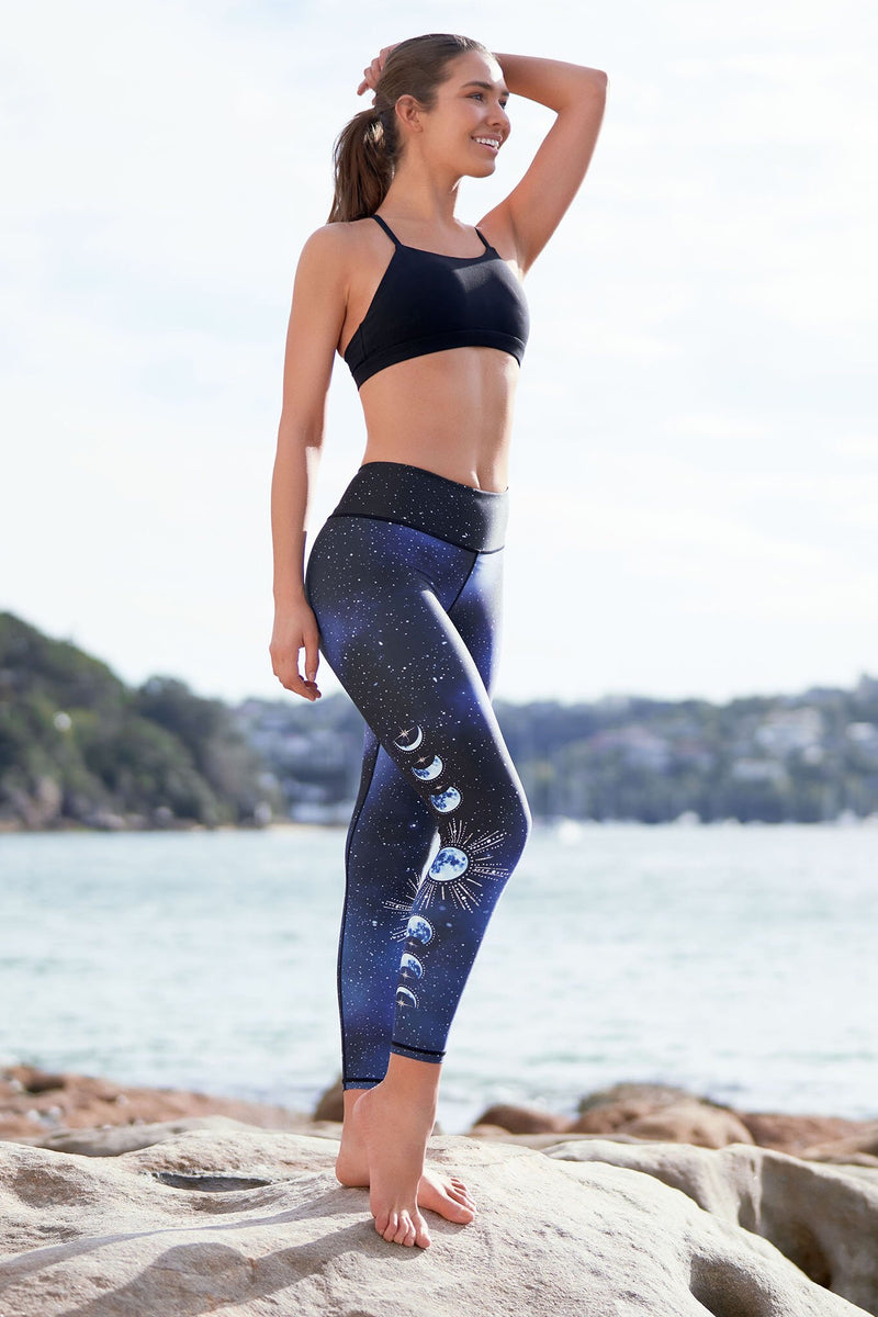 Dharma Bums La Luna Recycled High Waist Printed Legging - 7/8 - yApparel