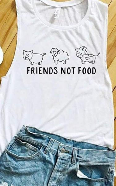 Wholesome Culture Friends Not Food Muscle Tank White - yApparel