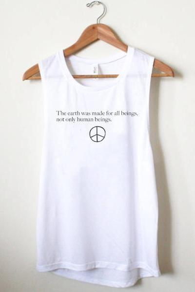 Wholesome Culture The Earth Was Made For All Beings Muscle Tank - White - yApparel