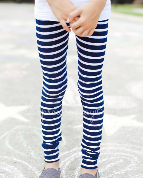 Navy + White True Leggings