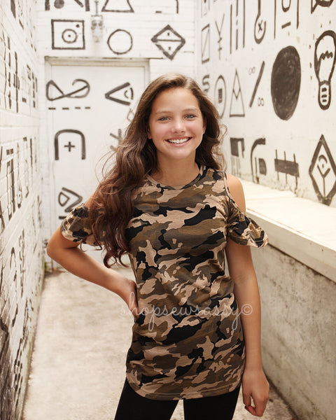 Camo Sassy Shoulder Top