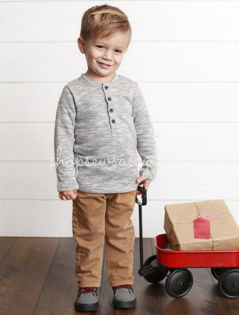 Light Charcoal Vintage Boy's Henley