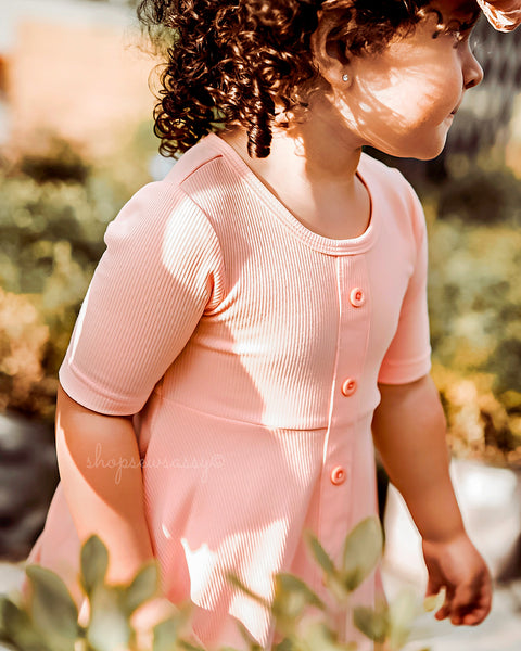 Peach Ribbed Ellie Dress