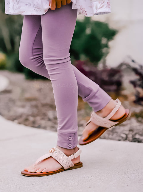French Lilac Button Leggings