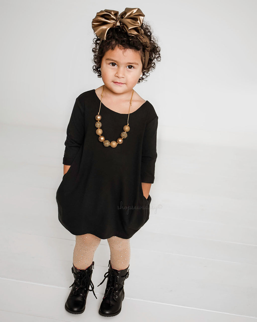 Black Sassy Denim Slouch Dress