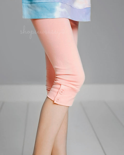 Peach Button Capris