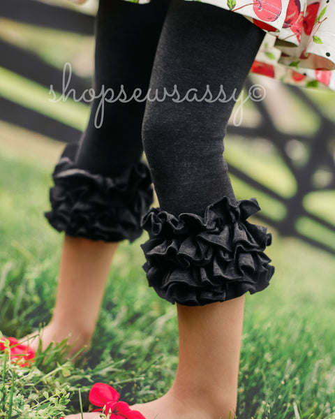 Heathered Black Icing Capris