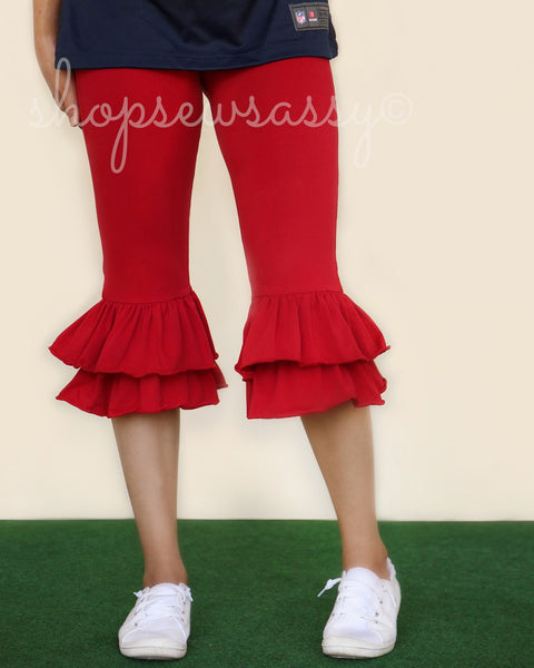 Red Momma Ruffle Capris