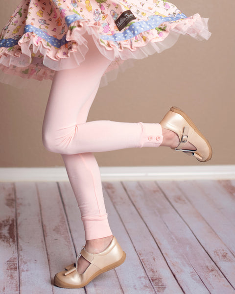 Pastel Peach Button Leggings