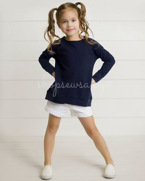 Navy Slouch Top