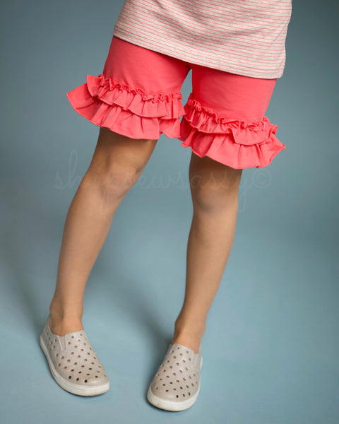 Vibrant Flamingo Ruffle Shorties