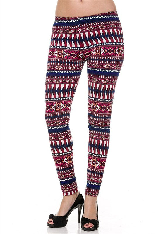 Tween Size Fleece Magenta Tribal Leggings
