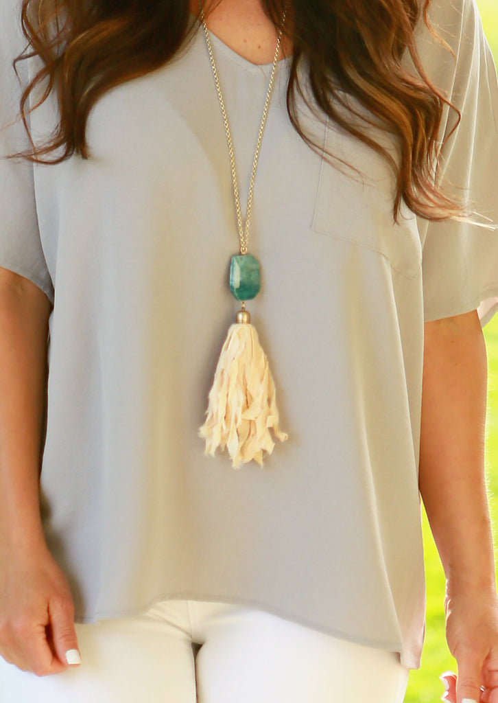 Fabric Tassel Stone Necklace
