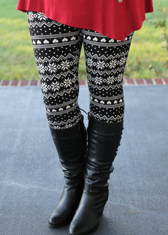 Super Soft Printed BW Fair Aisle Leggings