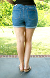 Curvy Cuffed Denim Shorts