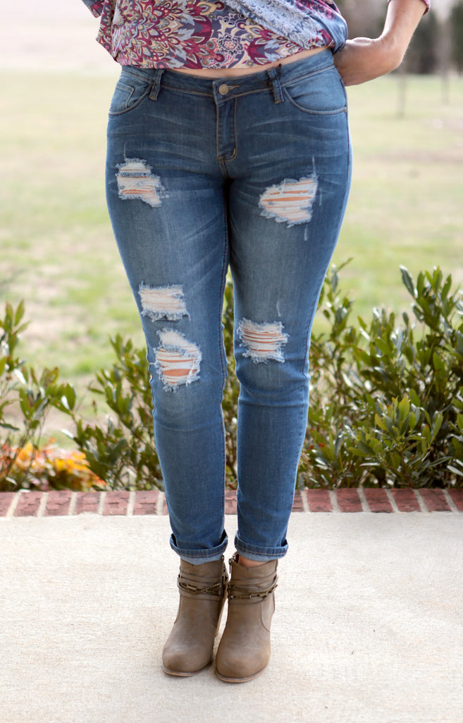 Distressed Medium Wash Skinny Jeans