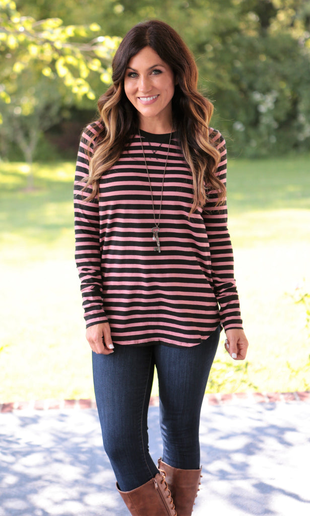 Classic Stripe Long Sleeve Tee (3 colors)