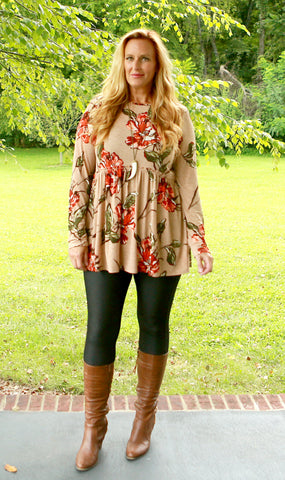 Autumn Breeze Babydoll Tunic (available in 2 colors)