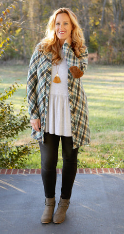 Green Plaid Elbow Patch Cardigan