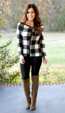 Flirty Off Shoulder Plaid Top