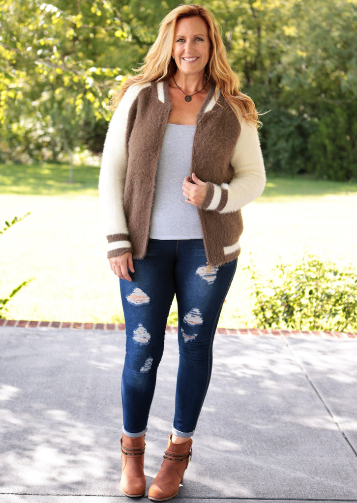Baseball Faux Fur Jacket