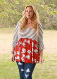 Madison Floral Stripe Babydoll Tunic