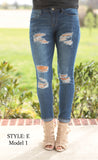 Distressed Medium Wash Skinny Jeans Style E