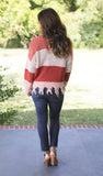 Colorblock Raw Fringe Sweater (available in 2 colors)