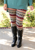 Red tribal fur lined leggings