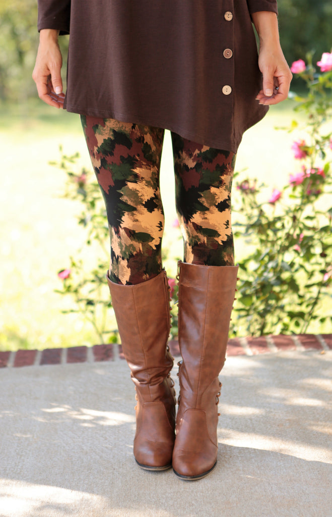 Super Soft Printed Falling Leaves Leggings