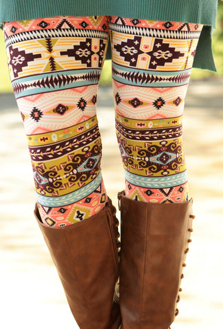 Super Soft Peach Tribal Printed Leggings