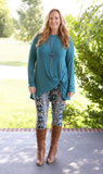 Super Soft Printed Leggings Teal & White