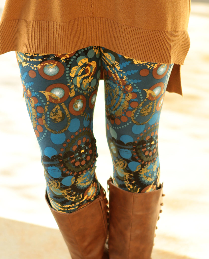 Super Soft Teal and Mustard Printed Leggings