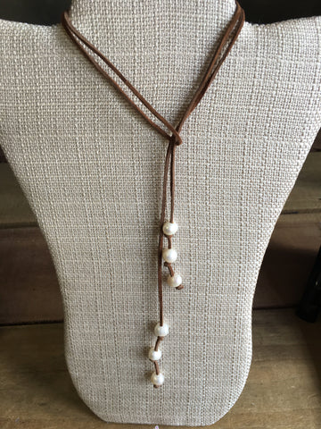 Suede Pearl Wrap Necklaces