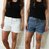 Button Front Denim Shorts (available in 2 colors)