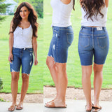 Dark Wash Distressed Bermuda Denim Shorts