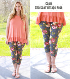 Super Soft Printed Charcoal Vintage Rose Capri Leggings
